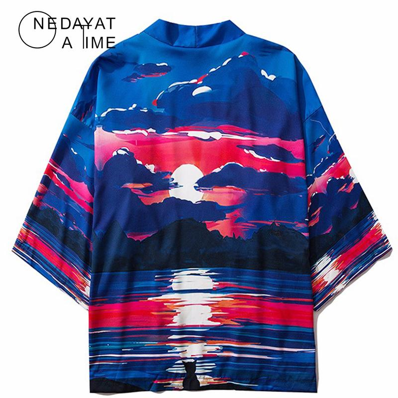 Brasão estilo japonês Sunrise Impresso Kimono Cardigan Casacos Tops Hip Hop Moda Harajuku Casual Jacket Streetwear Coats Kimono