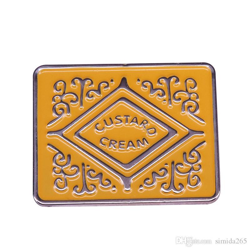 Custard cream biscuit badge flair cookie pin childhood memories jewelry gorgeous decor