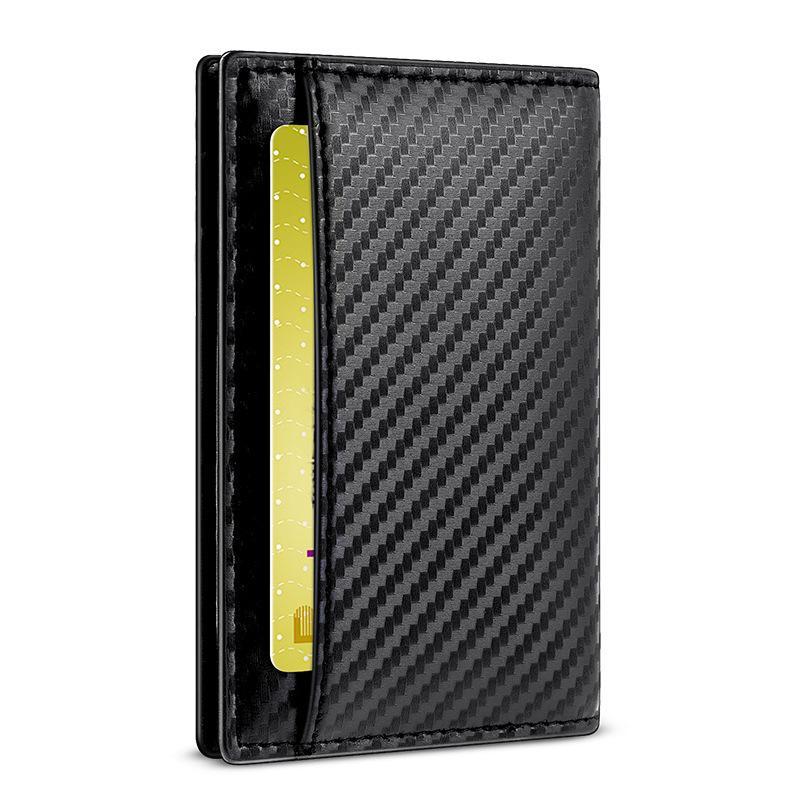 Carbonfaser-Mappe Mann-Kartenführerschein Paket dünne weibliche Anti-Diebstahl-Bürste kreativ dünner kurzer Absatz kleine Geldbeutel