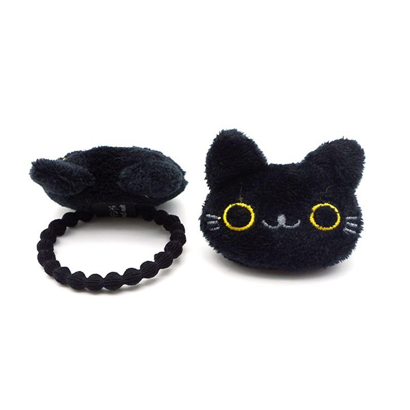 Women Women Student Lovely 3D Mini Cartoon Black Meow Cat Doll Decor Hair Clip Brooch Embroidered Rope Ponytail Holder Plush Toy