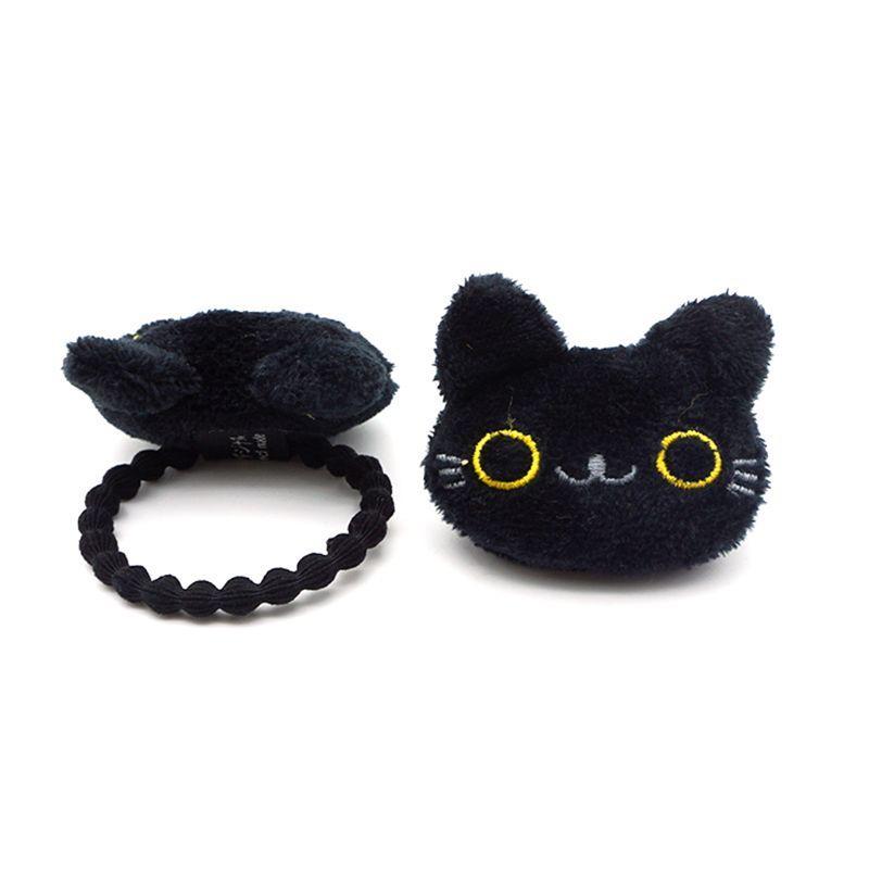 Damen: Student Schöne 3D Mini-Cartoon-Schwarz Meow-Katzen-Puppe Dekor Haarspange Brosche gestickte Seil Pferdeschwanz-Halter-Plüsch-Spielzeug