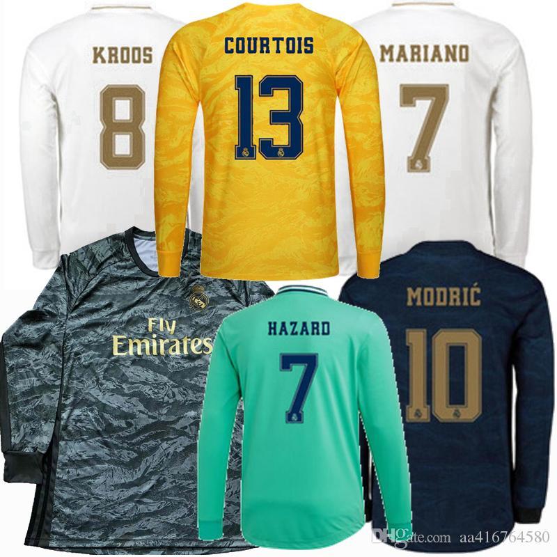 레알 마드리드 긴 소매 축구 유니폼 2019 2020 COURTOIS 위험 KROOS 벤제마 모드리치 JAMES (19) (20) 축구 전체의 셔츠는 S-4XL를