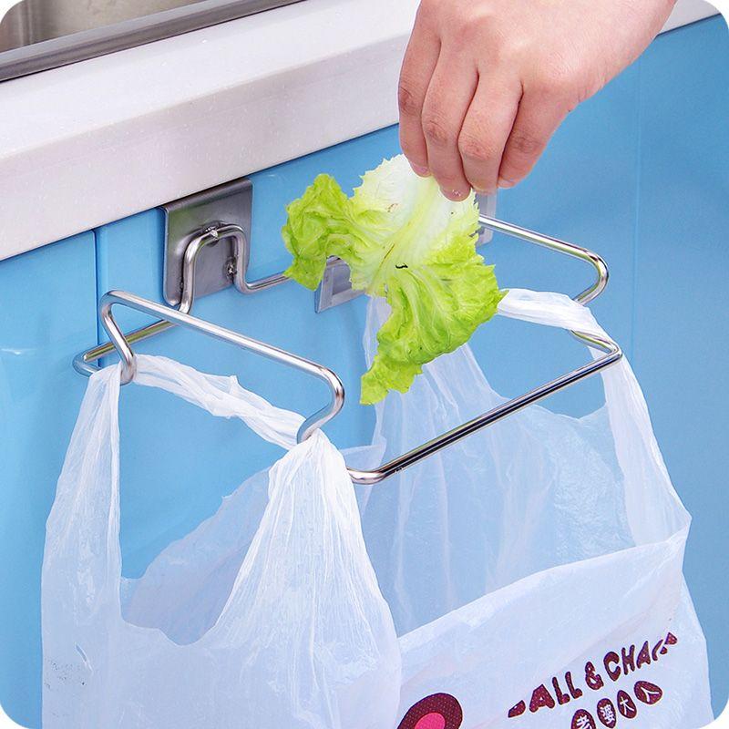 معلقة أكياس القمامة التخزين المنظم الرف الفولاذ المقاوم للصدأ حقيبة المهملات حامل منشفة قفازات شماعات لخزائن المطبخ الأبواب والخزائن