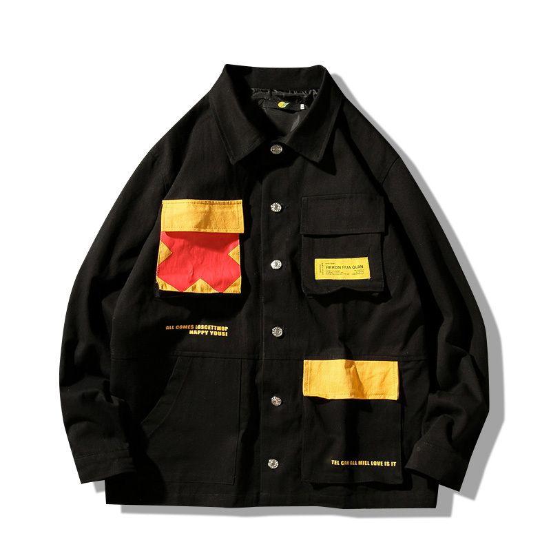 AutumnWinter Jacket Men Large Size 5XL Loose Tooling Style Coat Men Youth Student Class Clothing Simple Fashion Jacket