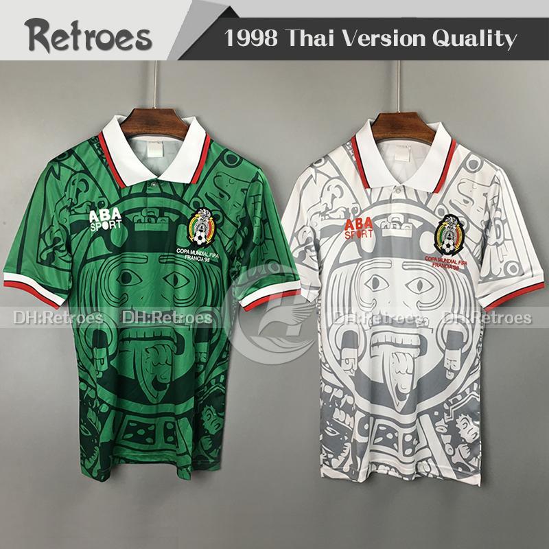 1998 멕시코 레트로 축구 유니폼 98 멕시코 홈 그린 에르난데스 블랑코 캄포스 # 11 BLANCO Away White 클래식 축구 유니폼 셔츠