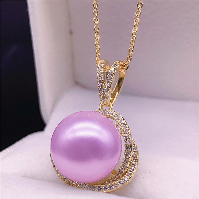 الذهب 14K الأحجار الكريمة اللون الأرجواني قلادة اللؤلؤ الزركون الماس القلائد قلادة للنساء مجوهرات بيجو هدية حزب أزياء