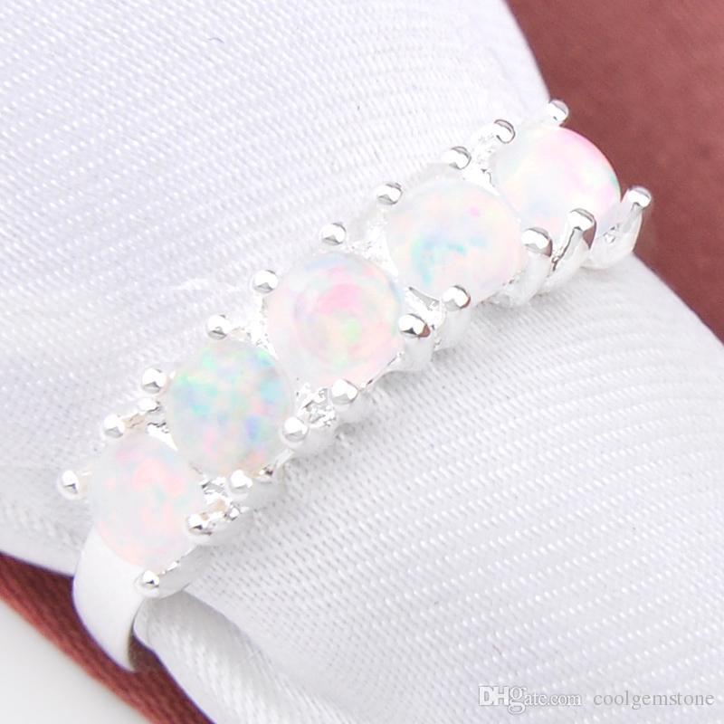 10 stks / partij Luckyshine Engagement Sieraden Ronde Witte Vuur Opaal Gems Zilver 925 Stempel Rusland Canada Verenigde Staten Ringen Sieraden