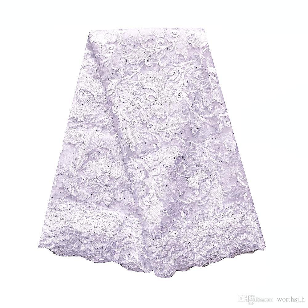 Wedding Fabric Lace Africano 2019 de alta qualidade Laço francês Net material Coral nigeriano White Lace Fabric Para Vestido