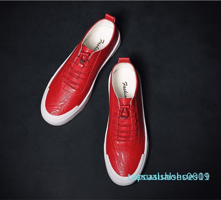 Europäische Station Herrenschuhe 2019 neue kleine weiße Schuhe männliche koreanische Version des wilden flachen Leder Spitze Freizeitschuhe c01 t19