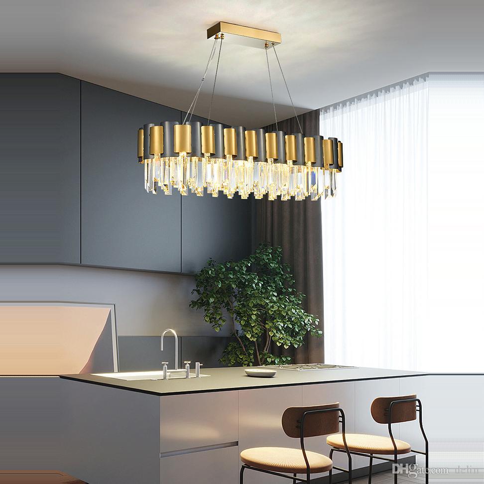 Постмодернистская нержавеющая сталь Кристалл подвесные светильники золотые круглые овальные светодиодные подвесные светильники.Подвесной Светильник.Подвесной светильник для столовой AC 90-260V