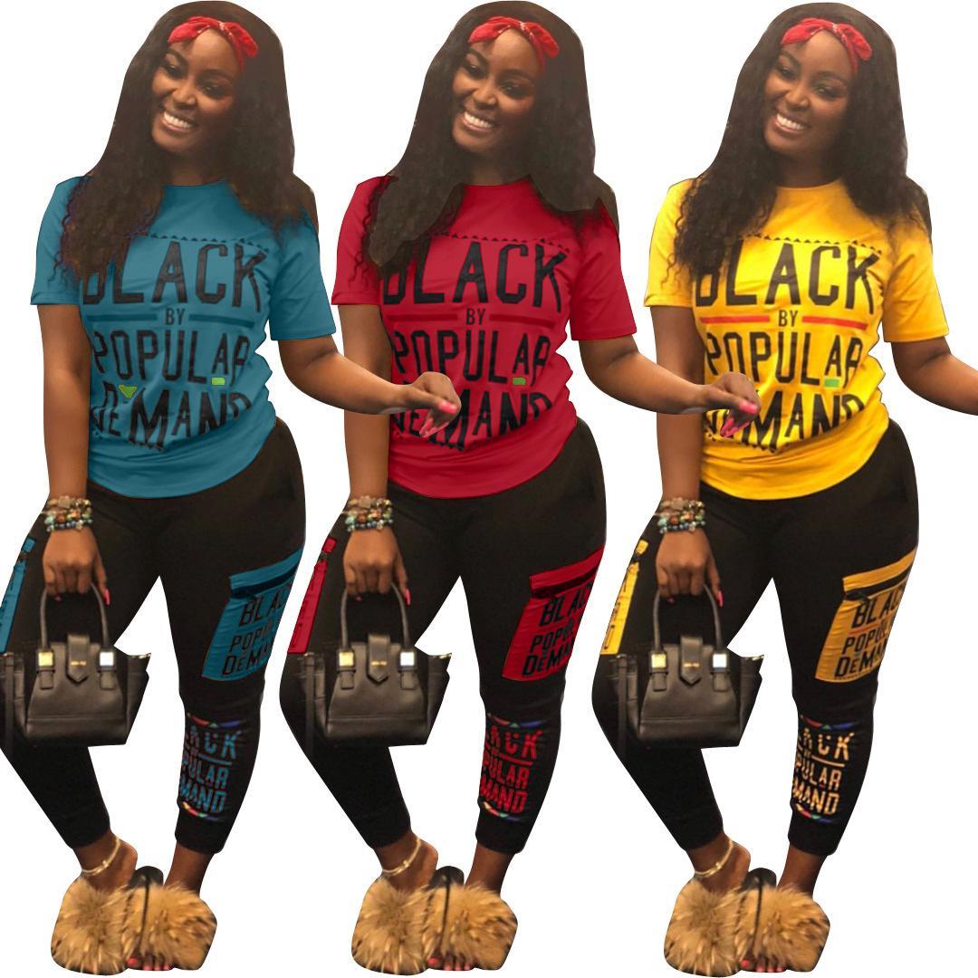 Melhor Qualidade Elegante Casual 2 Peça Tracksuits Mulheres Carta Impressão Amarelo Tops E Caber Calças de Comprimento Total de Slim Verão Streetwear Venda Quente