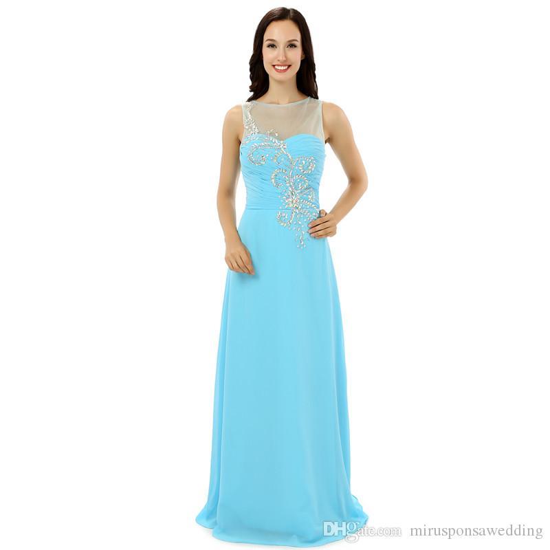 LG0227 потрясающие стразы свадебное платье невесты See Through девушки вечернее платье длиной до пола светло-голубое платье подружки невесты на молнии