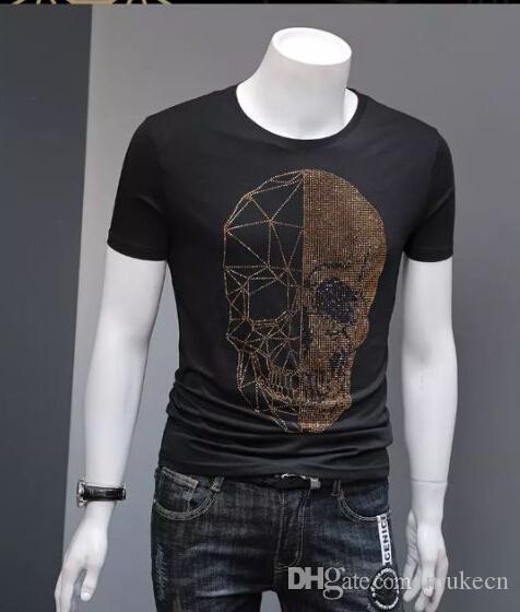 Curto Strass Drinestones Neck t Camisetas Algodão Magros Mens S-5xl Manga O Camiseta GF Nghdc