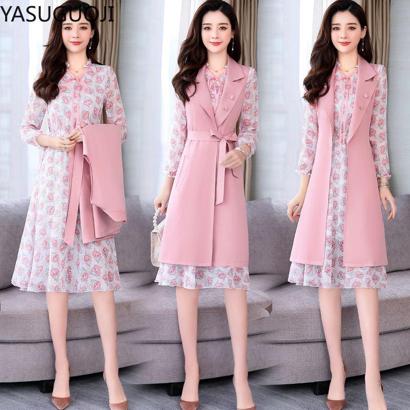 YASUGUOJI Frauen Büro-Kleid Anzüge Blumendruck Chiffon-Kleid mit langen Gürtel Weste Coat 2-teilig Frauen Traje Elegante Mujer