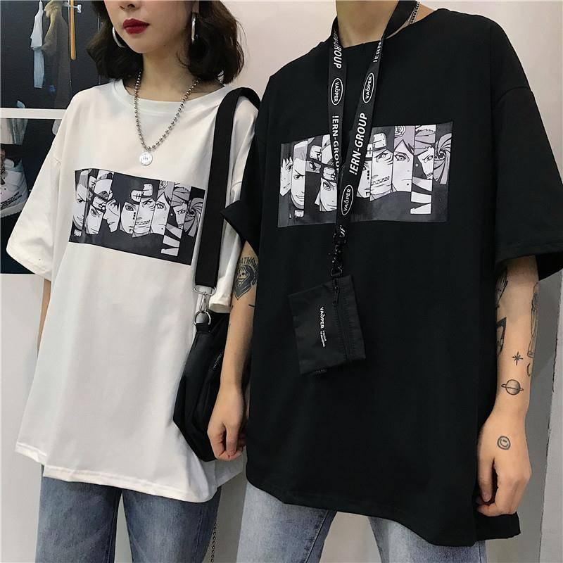 Cool Harajuku Tshirt Streetwear Men Cotton Summer Amine T -Shirt Casual Cartoon Print Male Tops Funny Japan T Shirt Boys Size S-3XL