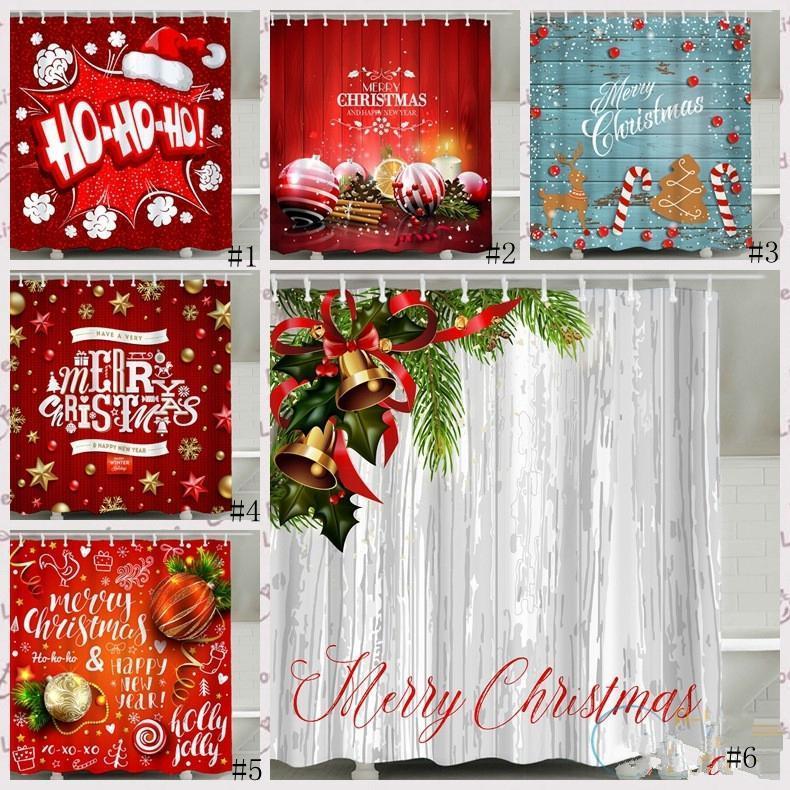 크리스마스 샤워 커튼 산타 클로스 눈사람 방수 3D 인쇄 된 욕실 샤워 커튼 후크 홈 장식 커튼 GGA2753