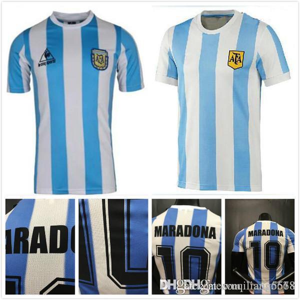 best quality in stock 1978 1986 Argentina Maradona home Soccer jersey Retro Version 86 78 Maradona CANIGGIA Quality Football Shirt Batistuta