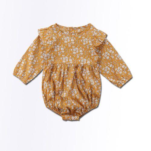 Fleur vintage du nouveau-né bébé Filles Vêtements bébé manches longues Barboteuses Jumpsuit Automne Nouveaux vêtements fille bébé