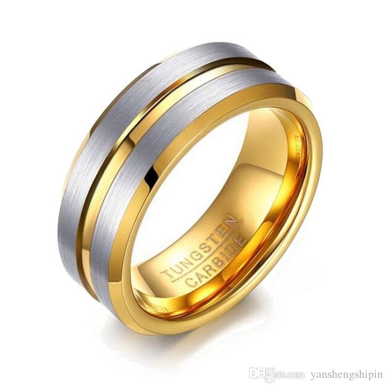 Erkekler Boyutu 6- 13 Erkek 8 MM Tungsten karbür yüzüğü Altın Mat Son Eğimli Kenar Düğün Band Hediye