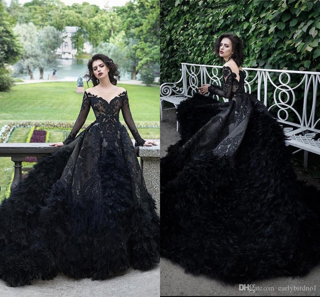 Luxury Sparkly Beaded Sequined Ball Gown Prom Dress Vintage Black Quinceanera Dresses With Feathers Long Formal Party Evening Gown