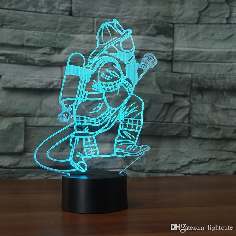 Novidade 3D Fireman Table Lamp LED Touch USB Botão 7 Cor Mudar Fire Fighter Night Light cabeceira Decor presentes luminária
