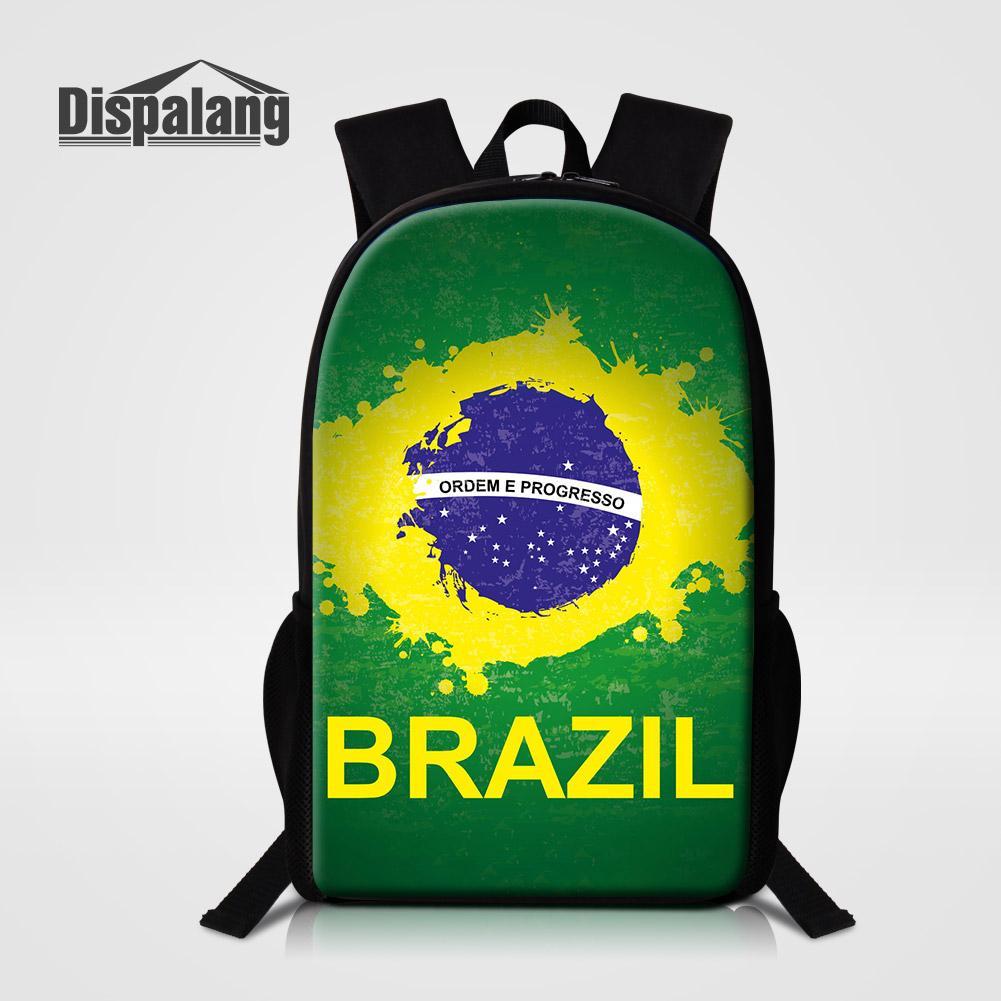 브라질 축구 팬 남성 패션 여행 Bagpack 소년 용 16 개 인치 학교 배낭 책가방 어린이 큰 폴리 에스테르 Mochila 배낭 쿨