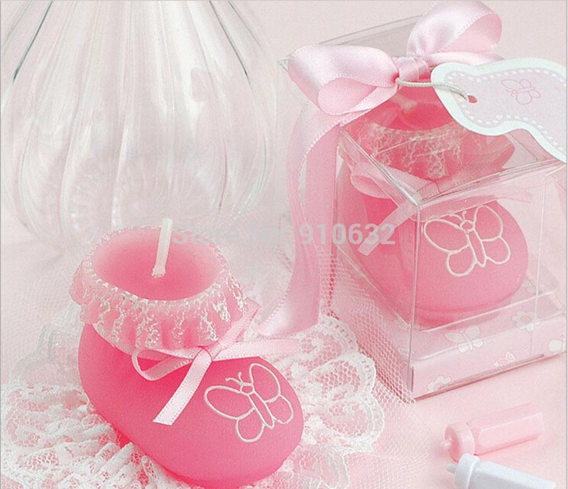 Оптово 20шт розовый Детские носки обуви свечи для свадьбы Baby Shower День рождения Сувениры Подарки Favor Новый горячий