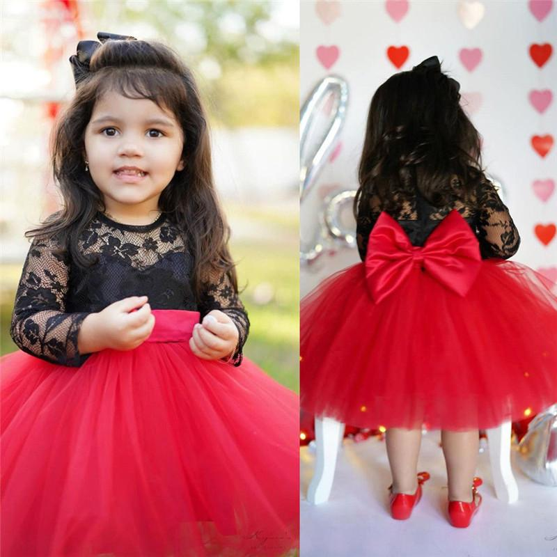Toddler Kids Baby Girls Party Bow Princess Lace Long Sleeve Dress Outfit Clothes