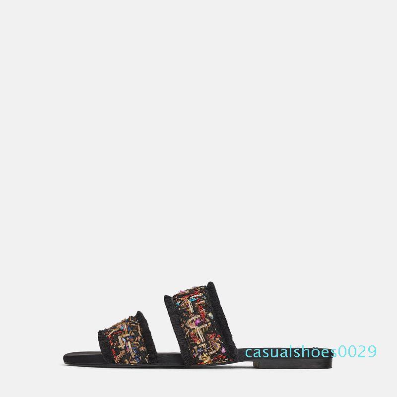 2019 neue Sommer-Frauen Pantoffeln Pantoletten Schuhe Peep-Toe flache Quaste Mules Slides Frau Gemütliches Sommeroberbekleidung balck Strand Flip-Flop-c29