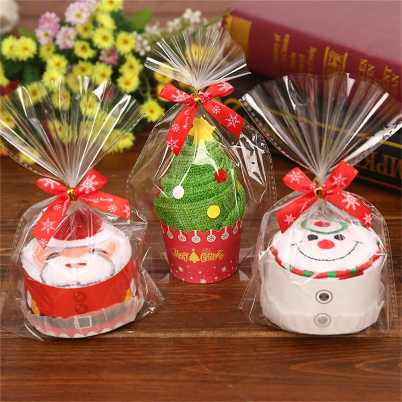 1Pc Merry Christmas Gift Cupcake Cotton Towel Santa Claus Snowman Tree New Year Decoration Christmas Decorations For Home 30x30cm