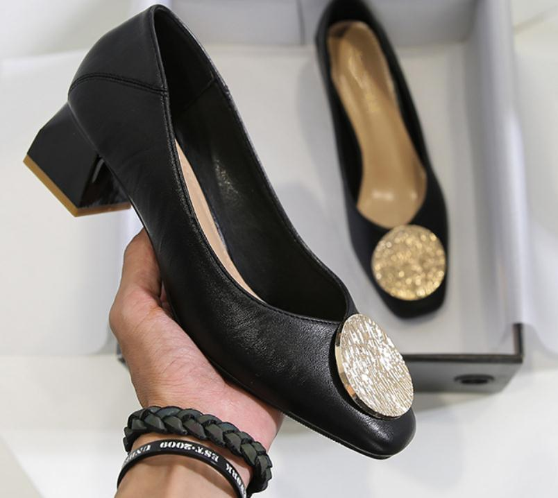 2020 весной и осенью с обувью Нового стиля моды Среднего каблуком Грубых пятками квадратных головами женщин в @ MQWBH667