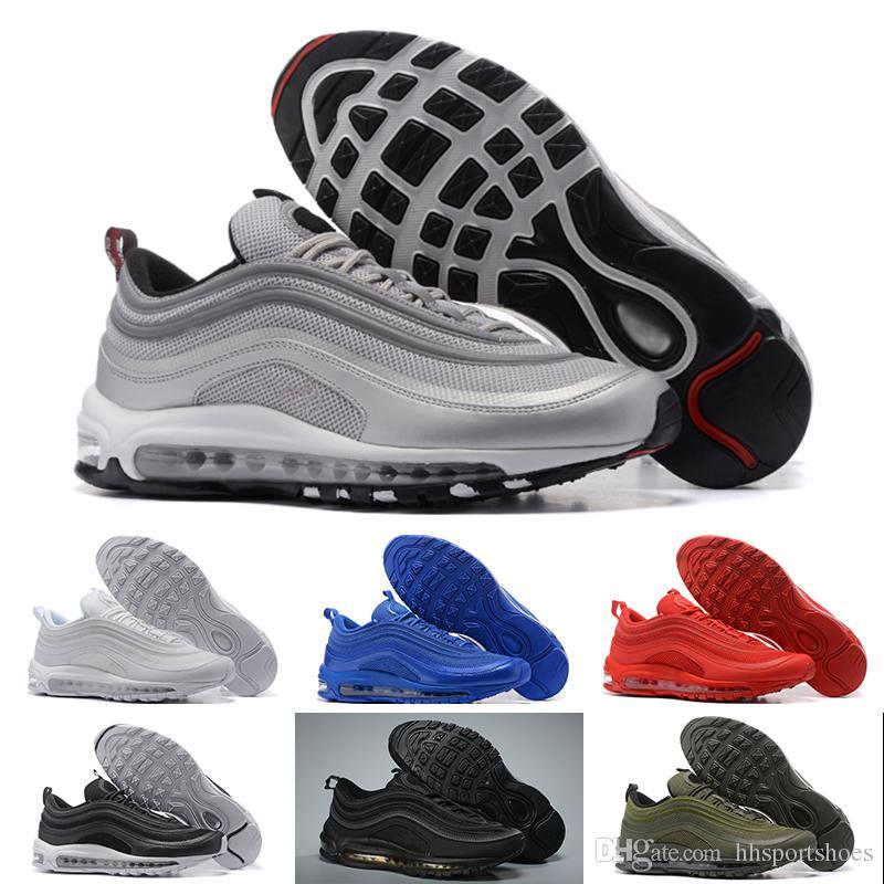 Nike air max 97 Nuevos hombres baratos mujeres zapatillas clásicas zapatillas de deporte bajo cojín bala de plata caminando zapatos deportivos casuales envío gratis