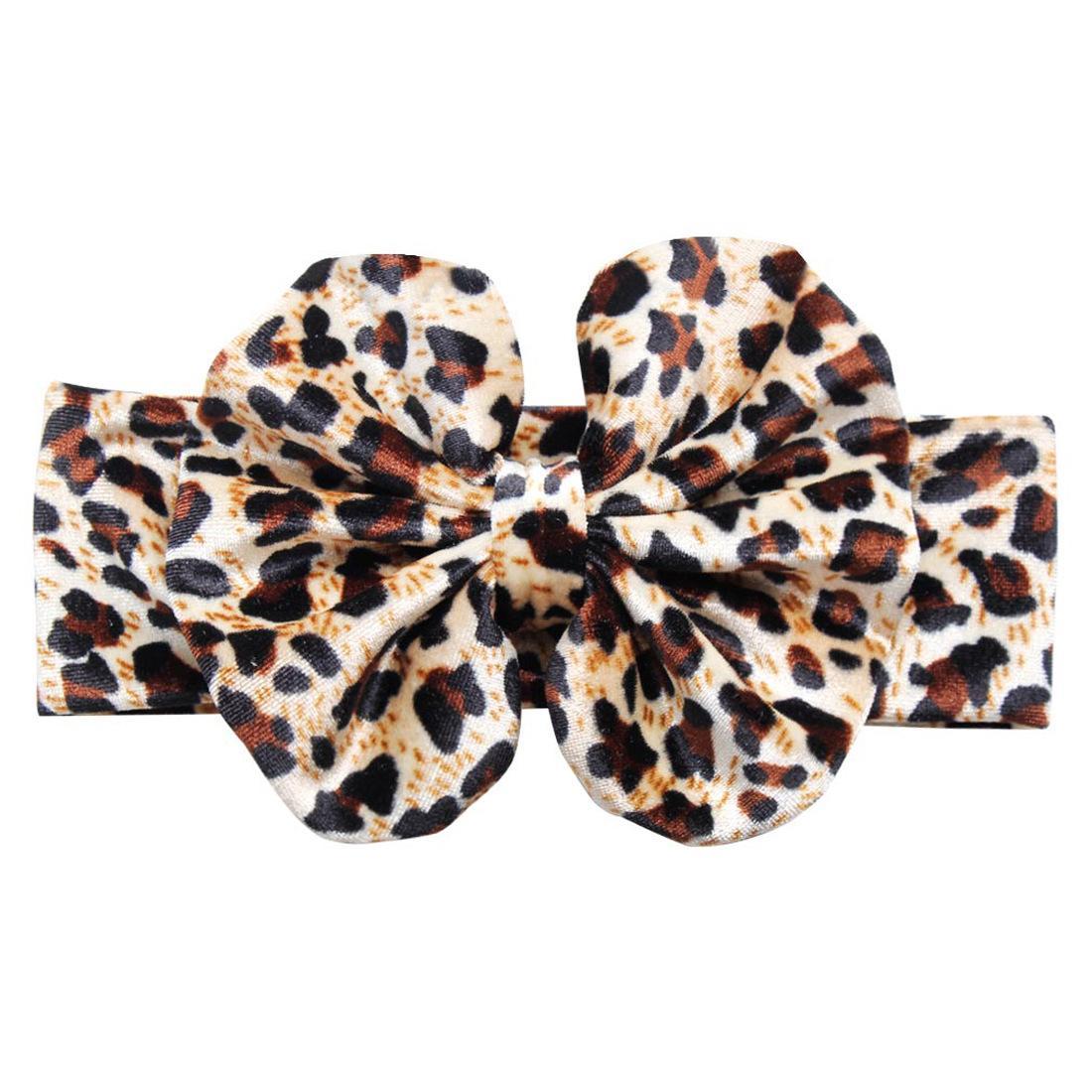 "1PC Retail New Summer Leopard Velet 5"" European Photography Hair Bow Elastic Headband DIY Hair Accessories Headwear"
