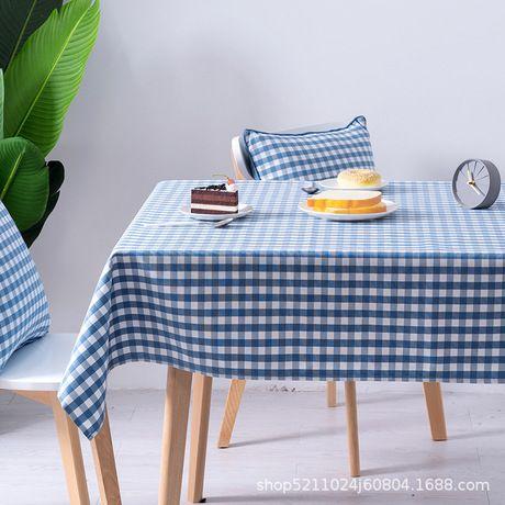 Simple petit lin coton frais à carreaux nappe en lin japonais coton méditerranéen art personnalisé en gros Tablecloth
