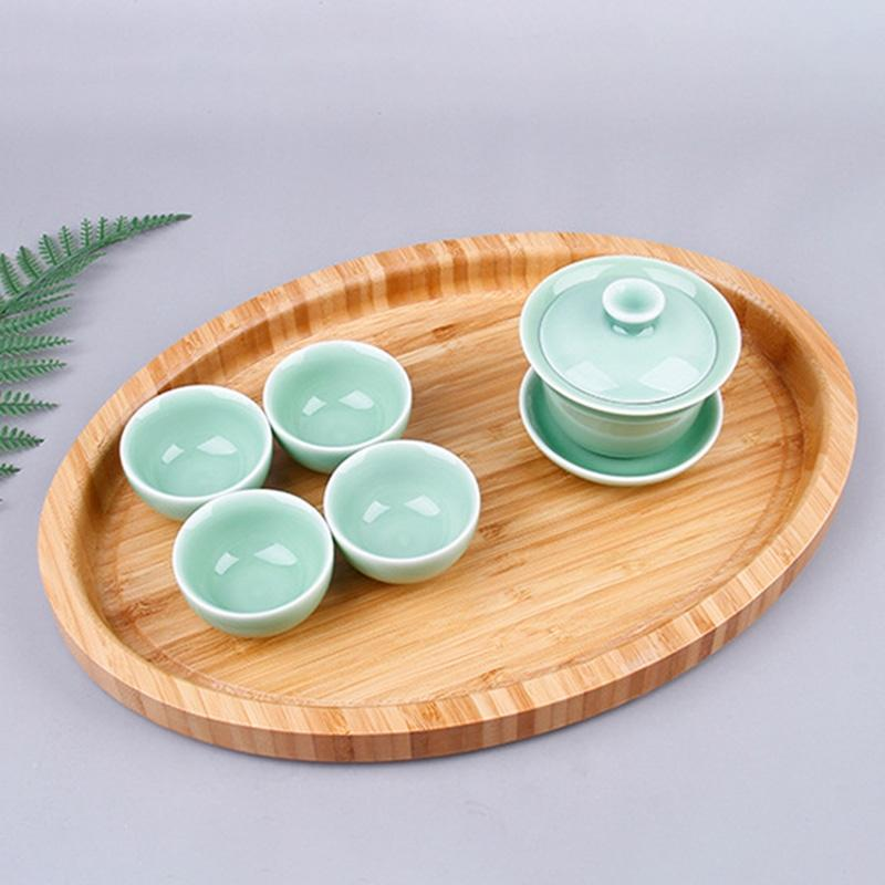 Chinese Style Bamboo Oval Tray Cake Tray Cheese Board Tableware Green Wood Kitchen Tools Kitchen Storage Organization