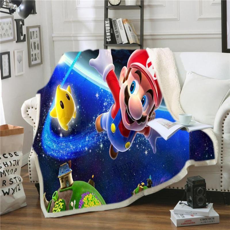 Anime Super Mario Warm Blanket Mat Throw Child Soft Wall Bedspread Warm Mat Blanket Table Beach
