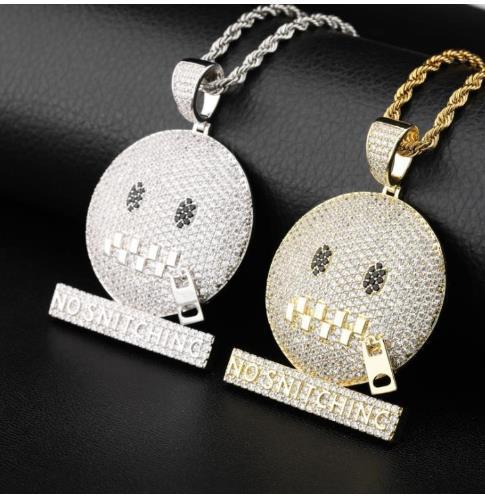 Zipper calar enfeite pingente engraçado cheio de zircão moderno colar de hip hop