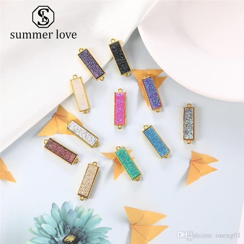 Hot Sale Fashion Crystal Druzy Resin Stone Pendant for Bracelet Bangle Necklace Gold Cute Colorful Diy Charm Jewelry Accessories