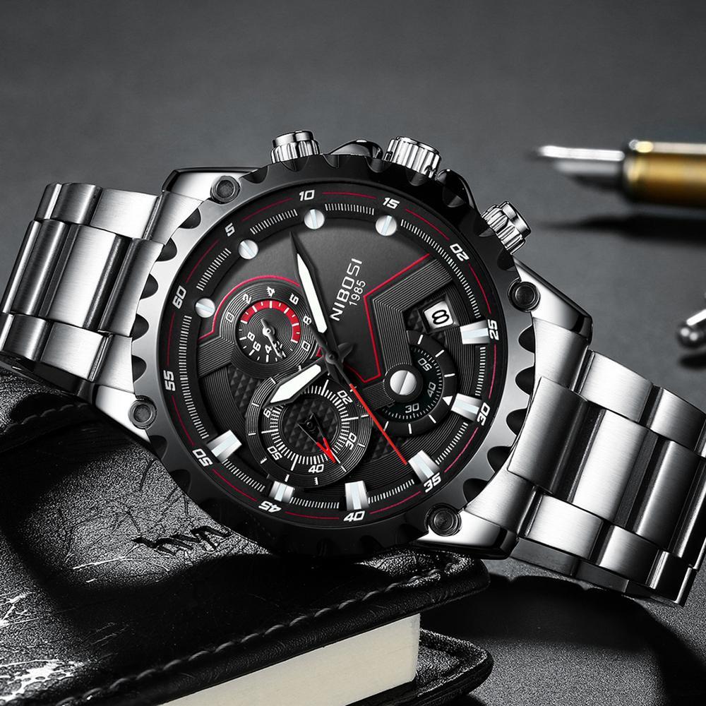2020 Relogio NIBOSI Masculino İzle Erkekler Top Marka Lüks Spor Kol Saati Chronograph Askeri Paslanmaz Çelik Wacth Erkek Mavi Saat