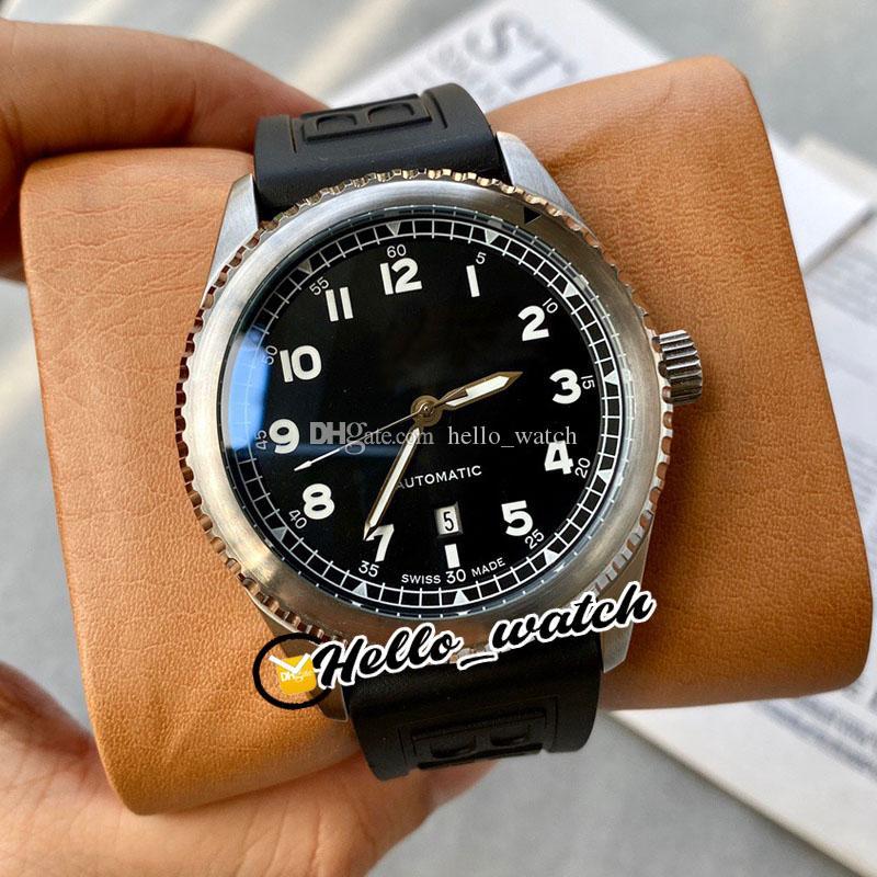 Новый 43мм Pilot Авиатор A17314101 A17314101B1X1 черный циферблат Автоматическая Мужские часы Стальной корпус черный каучуковый ремешок Часы Hello_Watch 4 Цвет