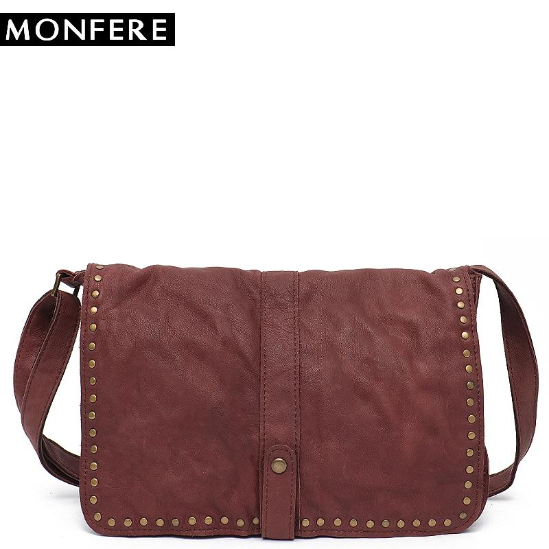 MONFERE Vintage Style Genuine Leather Italian Leather Flap Cover Rivet Satchels Bags Casual Women Shoulder Cross body Bag