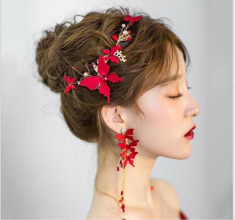 Korean Braut Kopfschmuck chinesischer roter Schmetterling Haarschmuck neue Hochzeit Zubehör Brautschmuck dreiteiliger Anzug