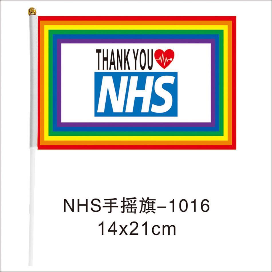 Danke NHS-Handmarkierungsfahne 14 * 21cm Regenbogen-Flagge UK-Fahne danken Ihnen Schlüssel Arbeiter Fahnen Banner für England Schottland Wales LJJA4063N