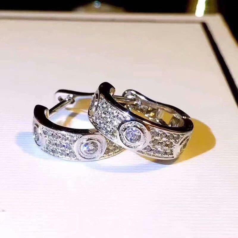 مع LOGO ومبتكرة مربع 925 الفضة الاسترليني الماس مصمم الأقراط للنساء الاشتباك زفاف الأزواج المجوهرات الفاخرة هدية عاشق