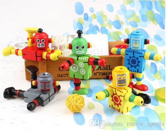Brinquedos da primeira infância Robô De Madeira das Crianças Educação Infantil Brinquedos Educativos Bloco de Construção de Madeira Deformação Elástico Robô