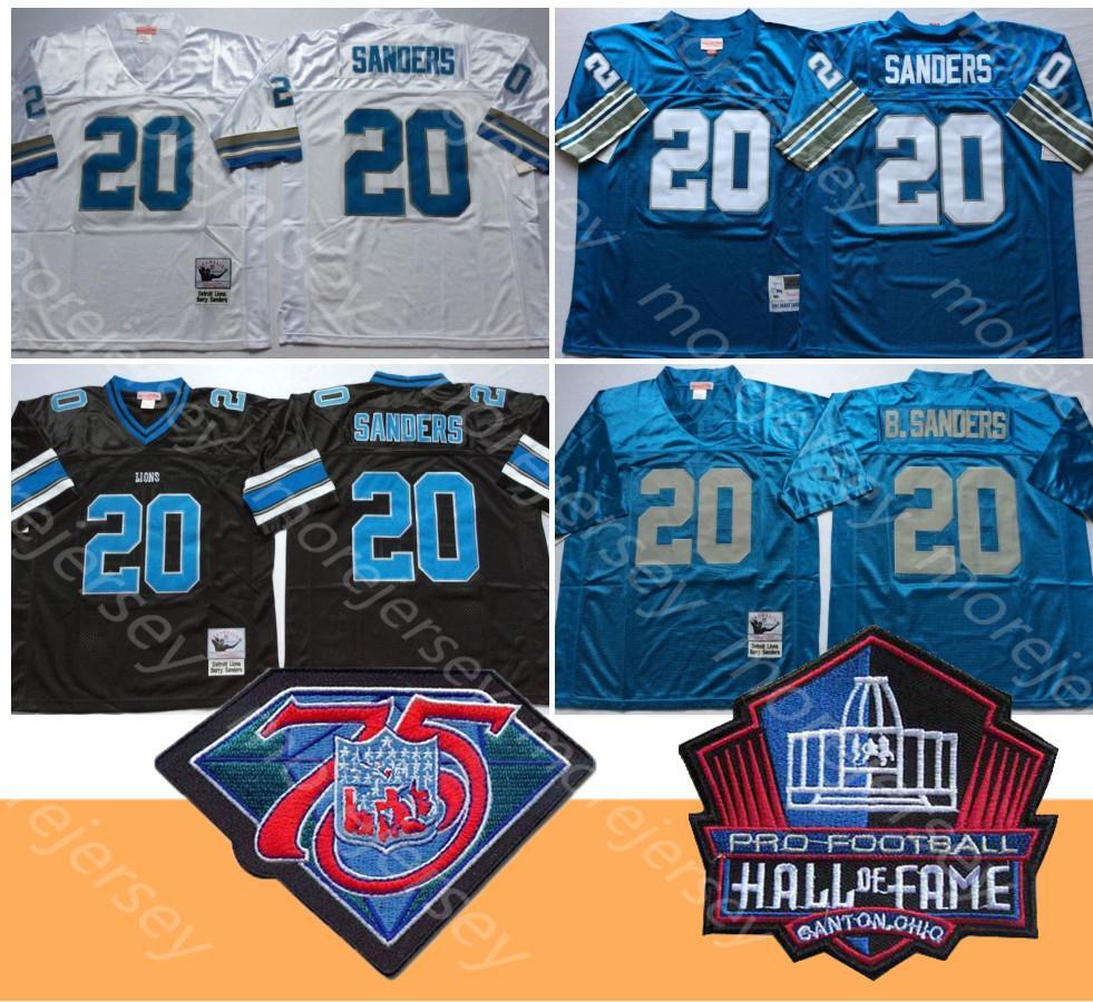 NCAA Football Jersey Barry Sanders Hall Of Fame remendo 75 patch Throwback Tudo costurado Men Tamanho M-3XL