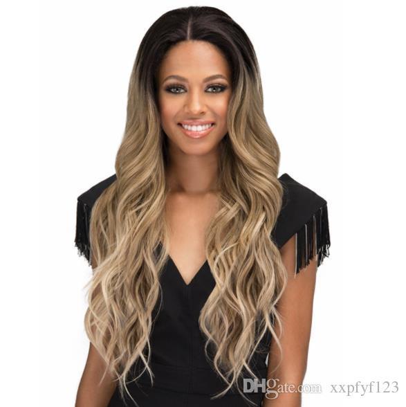 Laço loira peruca longa laço suíço vendendo corpo natural ondulado linha sintética dianteira perucas resistentes ao calor fzp187