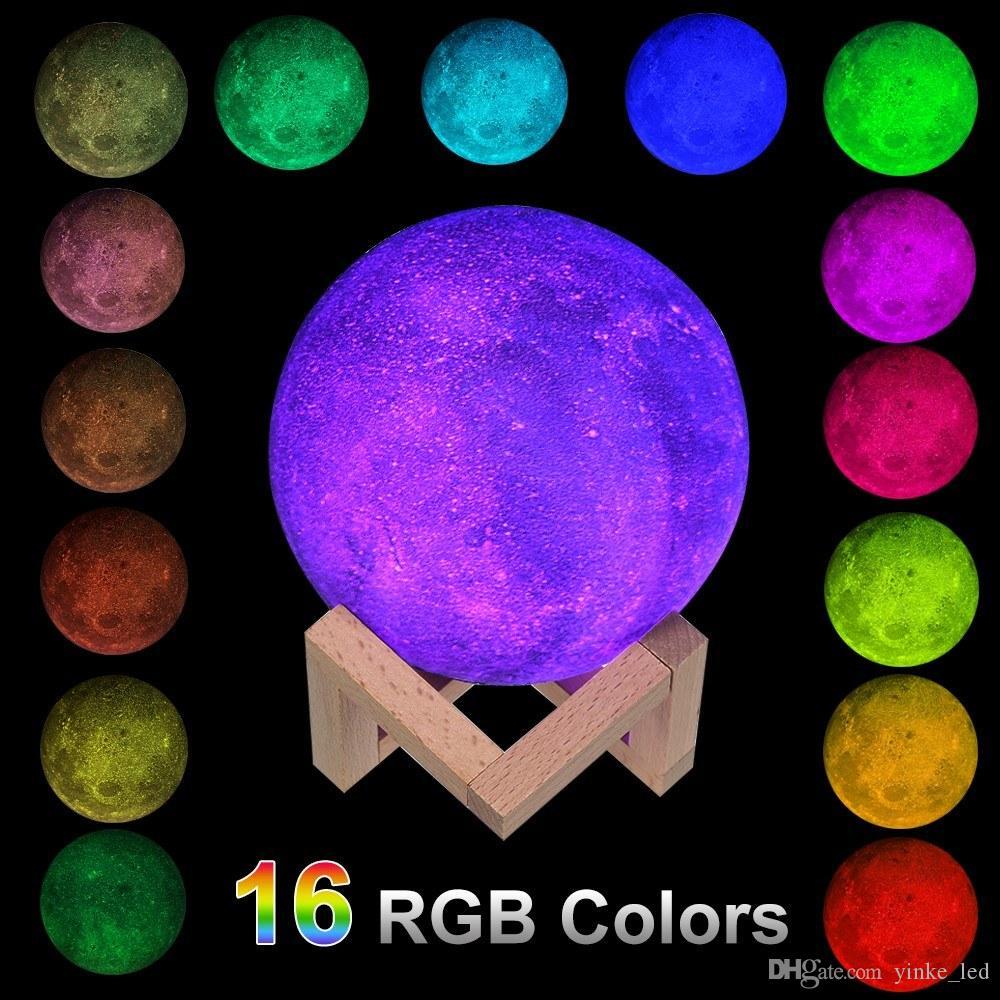 3D impressão clara 16RGB Color Change Touch Control Lua Lâmpada LED Night Quarto Mesa, Secretária cabeceira Lâmpadas Nightlight para Home Decor Natal