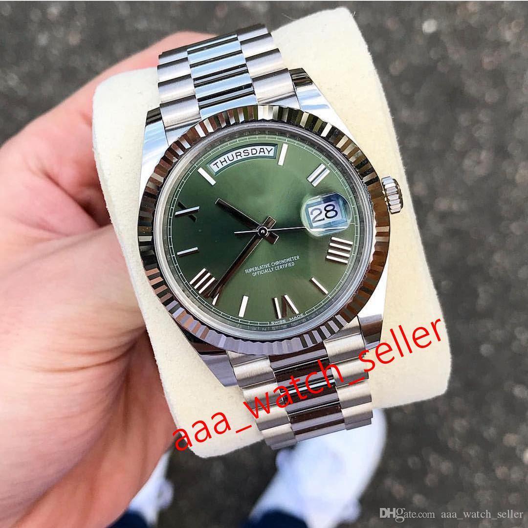 Высококачественные роскошные мужские часы Мастер 40 мм Сни-дата 228239 228238 60-летие Оливкового зеленого циферблата Президент Браслет Автоматические часы