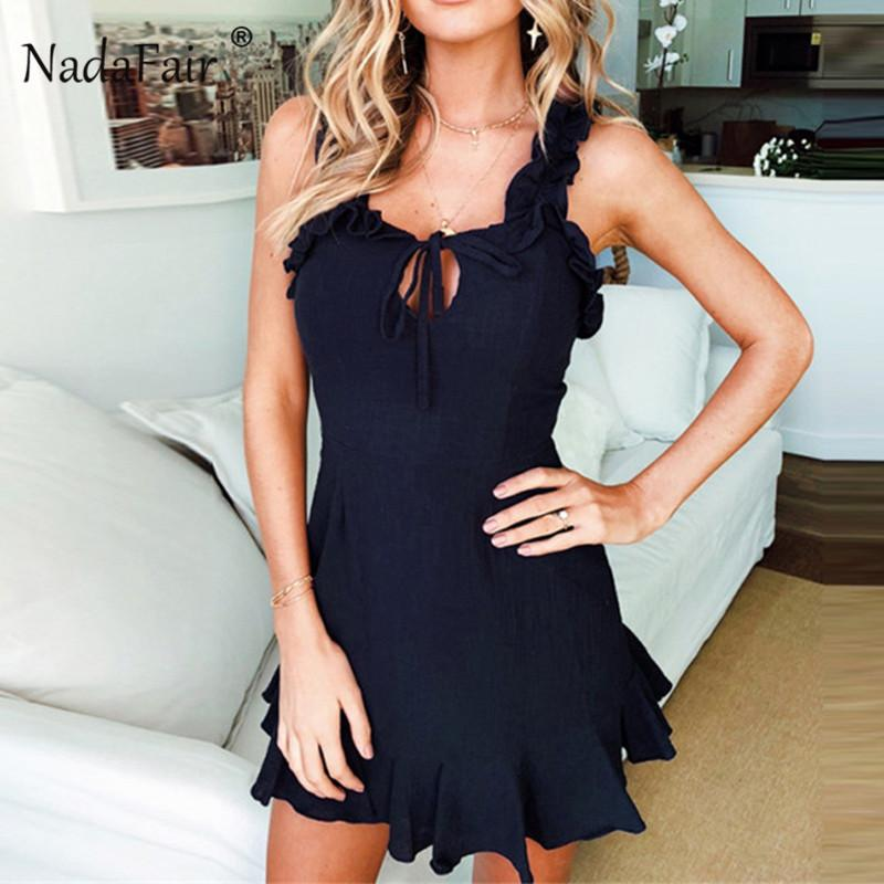 Nadafair Ruffle Mini A-Linie Kleid Backless Beach Club Party Kleider Frauen Streetwear Lace Up Spaghettibügel Bodycon Vestidos Y19051001